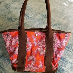 Red Paisley with Brown Accents J. Crew Handbag
